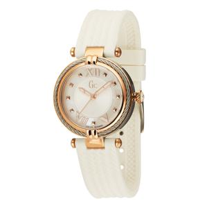 Gc Analogové hodinky 'Cable Chic'  bílá / růžově zlatá / stříbrná